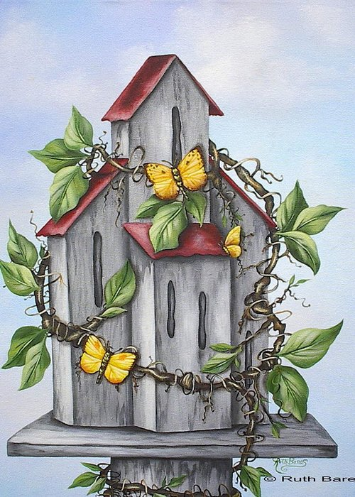 Butterflies Greeting Card featuring the painting Butterfly House by Ruth Bares