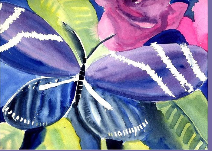 Butterfly Purple Rose Leaves Greeting Card featuring the painting Butterfly by Janet Doggett