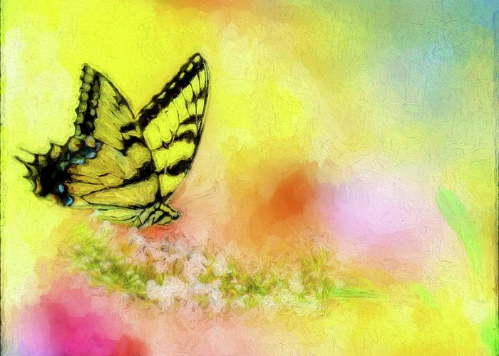 Butterfly Greeting Card featuring the painting Butterfly Love by Ches Black