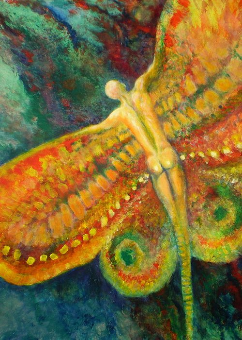 Butterfly Greeting Card featuring the painting Butterfly Man by Michael Durst
