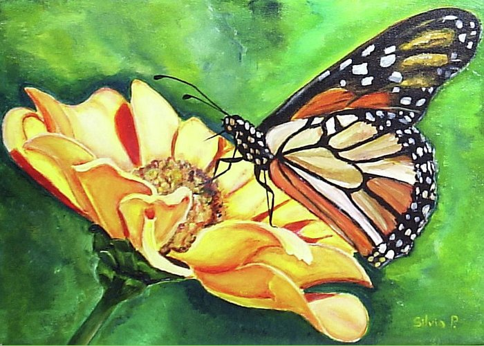 Daisy Greeting Card featuring the painting Butterfly On Yellow Daisy by Silvia Philippsohn