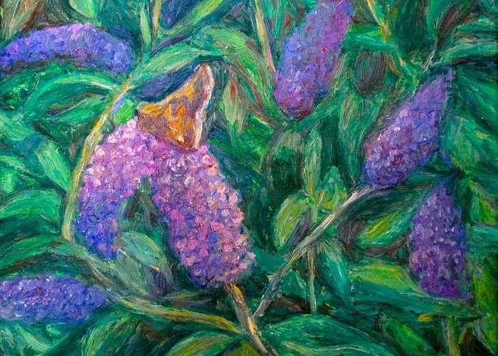 Butterfly Greeting Card featuring the painting Butterfly View by Kendall Kessler