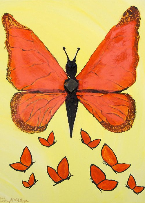 Goddesses Greeting Card featuring the painting Butterfly Woman by Emerald GreenForest
