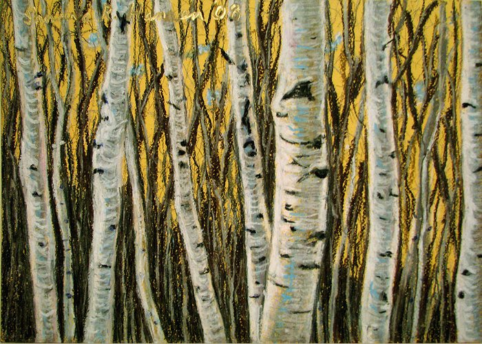 Birches Greeting Card featuring the painting Buttery Birches by Art Nomad Sandra Hansen