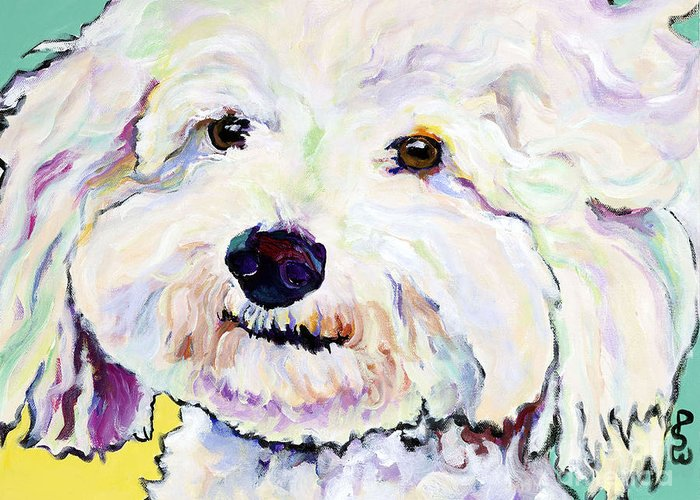 Bischon Greeting Card featuring the painting Buttons  by Pat Saunders-White