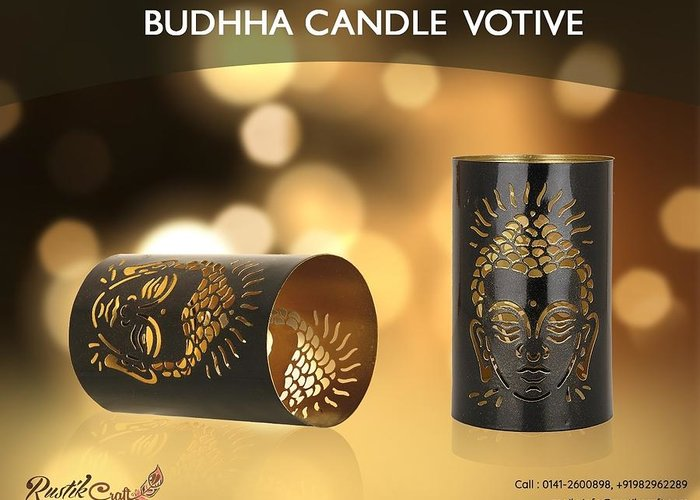 Home Decor Greeting Card featuring the photograph Buy Attractive Buddha Candle Votive From Rustik Craft by Sangeeta Sharma