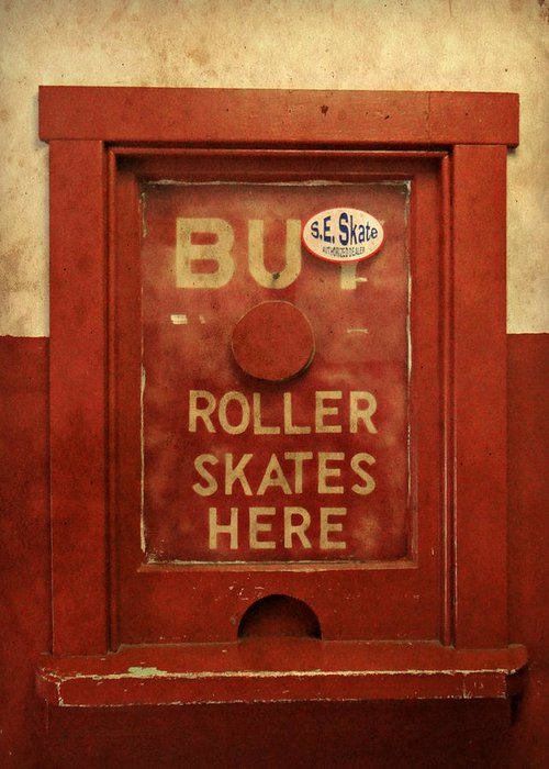 Buy Skates Here Greeting Card featuring the photograph Buy Skates Here by Brenda Conrad