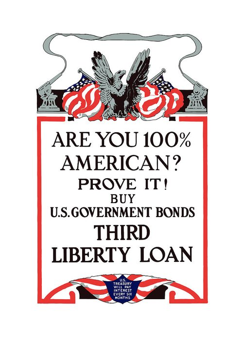 Liberty Loan Greeting Card featuring the painting Buy U.s. Government Bonds by War Is Hell Store