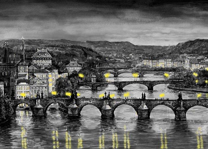 Prague Greeting Card featuring the painting Bw Prague Bridges by Yuriy Shevchuk