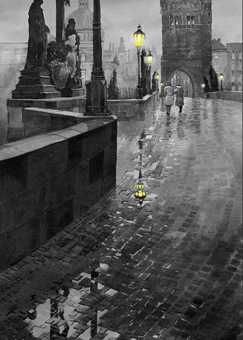 Prague Greeting Card featuring the painting Bw Prague Charles Bridge 01 by Yuriy Shevchuk