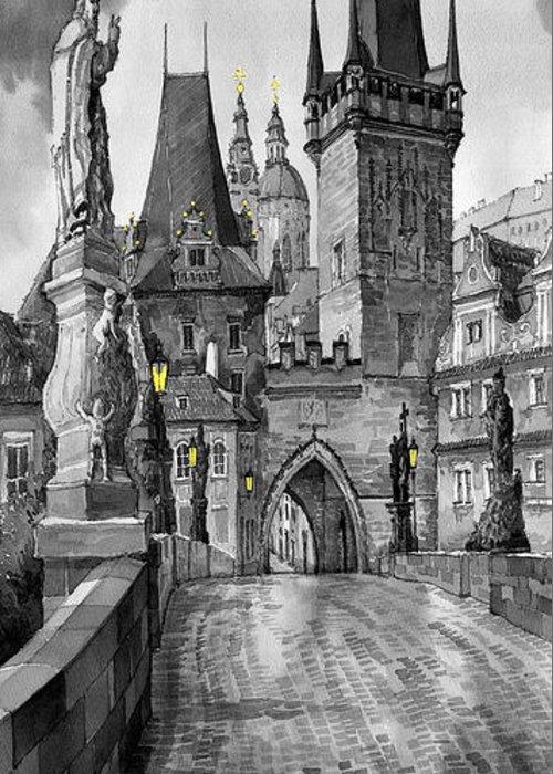 Prague Greeting Card featuring the painting Bw Prague Charles Bridge 02 by Yuriy Shevchuk