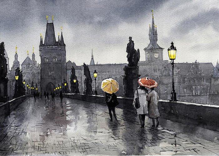 Prague Greeting Card featuring the painting Bw Prague Charles Bridge 05 by Yuriy Shevchuk