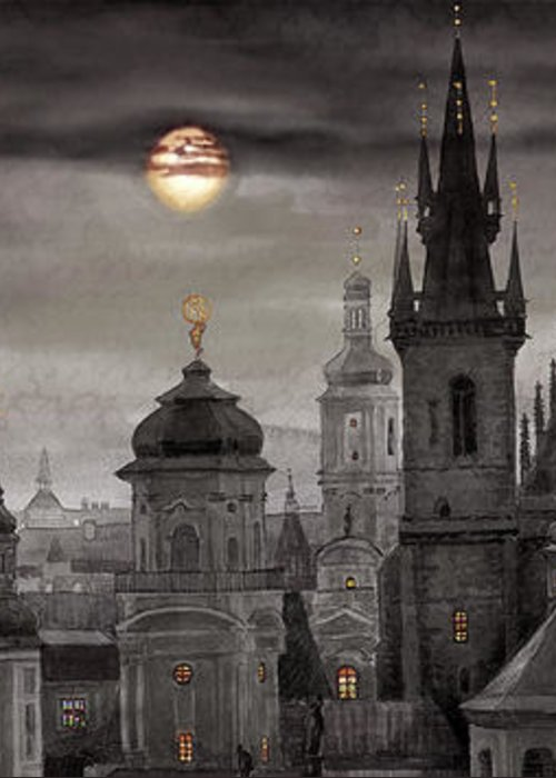 Cityscape Greeting Card featuring the painting Bw Prague City Of Hundres Spiers by Yuriy Shevchuk