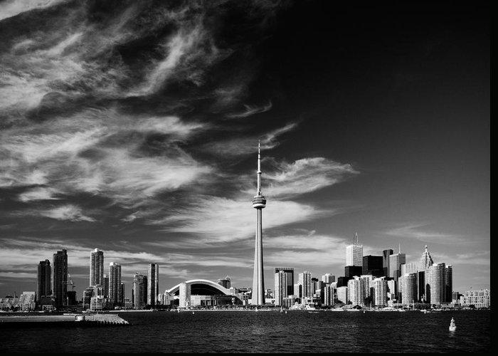 Toronto Greeting Card featuring the photograph Bw Skyline Of Toronto by Andriy Zolotoiy