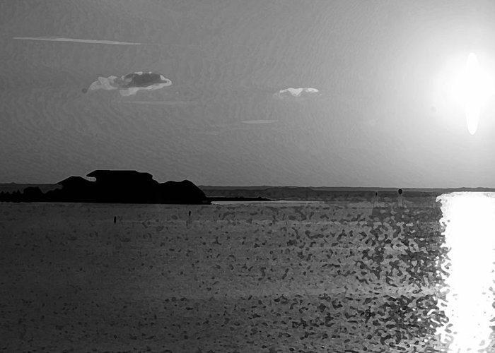 Pelican Greeting Card featuring the photograph Bw Sunset House by Michael Thomas