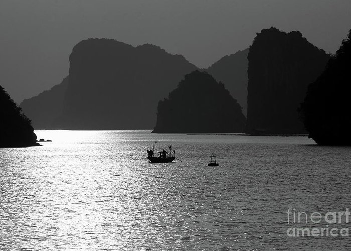 Asia Greeting Card featuring the photograph Bw Tones Ha Long Bay Vietnam by Chuck Kuhn