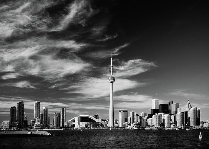 Architecture Greeting Card featuring the photograph BW Toronto skyline 1.5 ratio XL by Andriy Zolotoiy