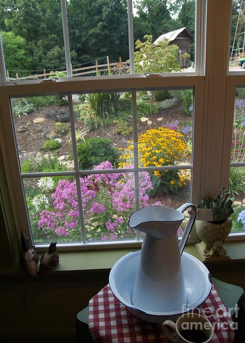 Window Greeting Card featuring the photograph By The Garden Window In North Carolina by Anna Lisa Yoder