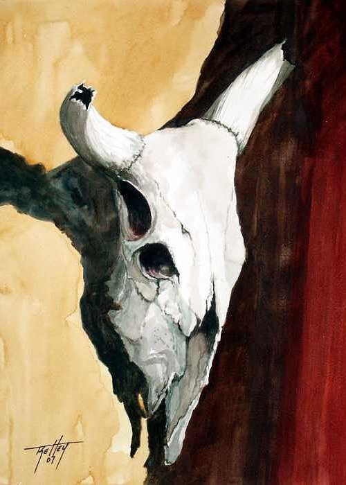 Skull Greeting Card featuring the painting By The Horns by Travis Kelley