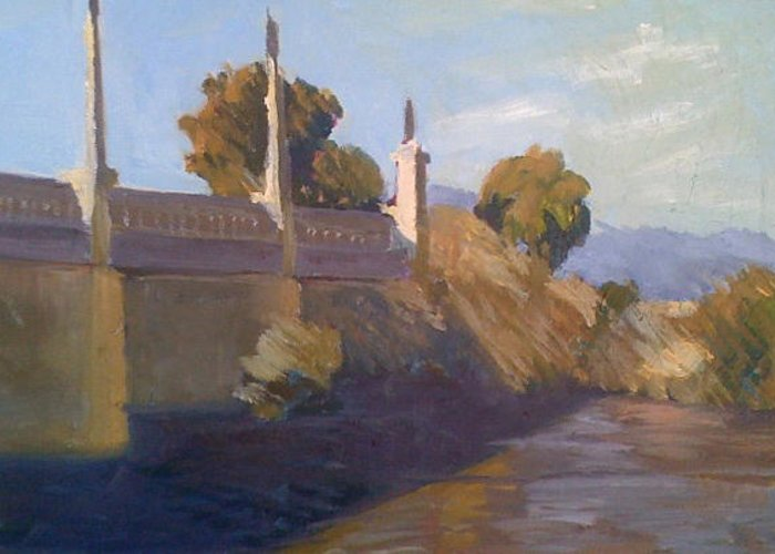 Greeting Card featuring the painting By The La River by Ann Dudrow