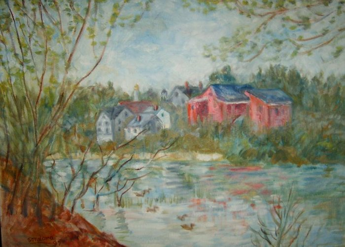 Landscape Greeting Card featuring the painting By The River by Joseph Sandora Jr