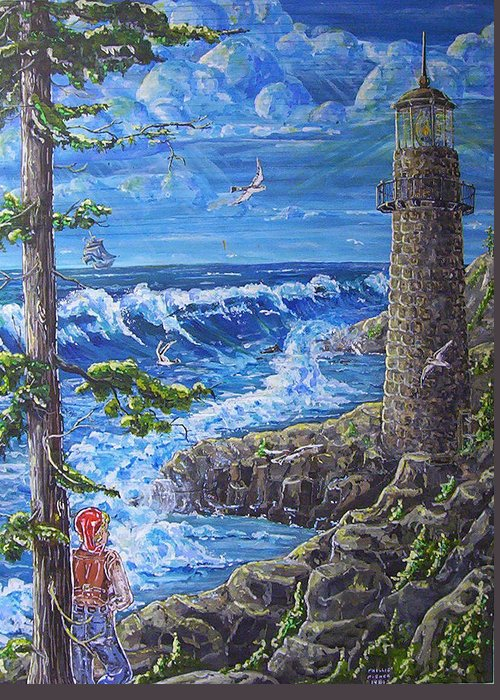 Seascape Greeting Card featuring the painting By The Sea by Phyllis Mae Richardson Fisher