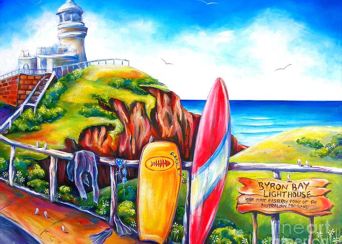 Lighthouse Greeting Card featuring the painting Byron Bay Lighthouse by Deb Broughton
