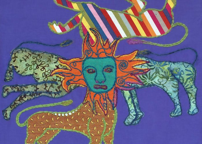Lion Greeting Card featuring the tapestry - textile Byzantine Lion by Sonja Yunda