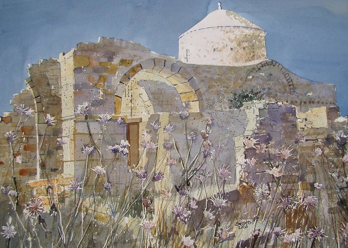 Byzantine Greeting Card featuring the painting Byzantine Monastery Cyprus by Martin Giesen