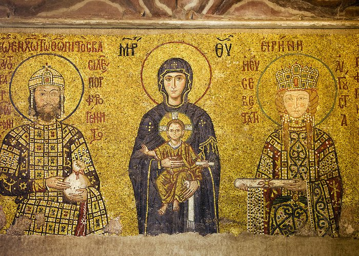 Art Greeting Card featuring the photograph Byzantine Mosaic In Hagia Sophia by Artur Bogacki