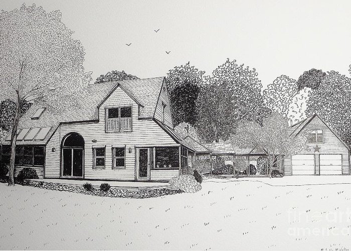 Architectural Drawing Greeting Card featuring the drawing C And P's House by Michelle Welles