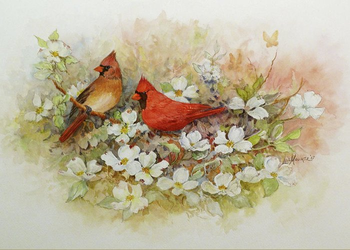 Birds Greeting Card featuring the painting Cardinals and Dogwood by Lois Mountz