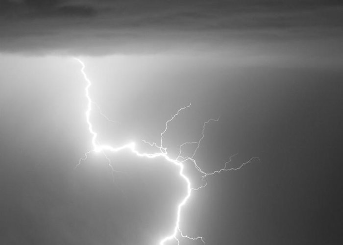 City Greeting Card featuring the photograph C2g Lightning Strike In Black And White by James BO Insogna