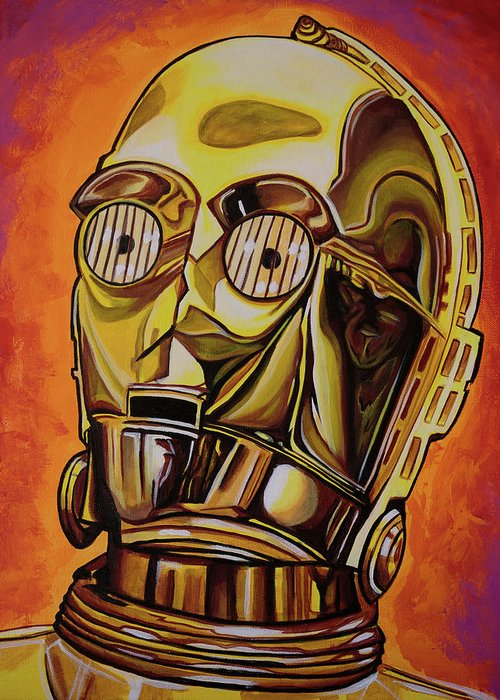 C3po Greeting Card featuring the painting C3po by Matt Brown