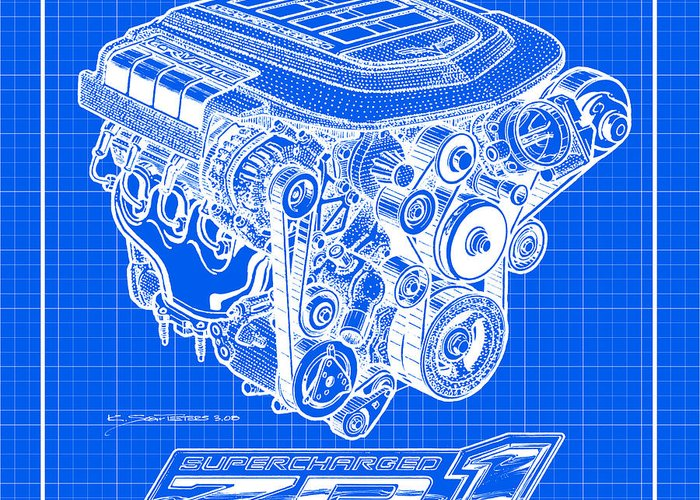 Corvette Engines Greeting Card featuring the drawing C6 Zr1 Corvette Ls9 Engine Blueprint by K Scott Teeters