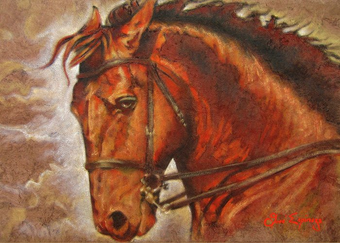 Horse Paintings Greeting Card featuring the painting Caballo I by J- J- Espinoza
