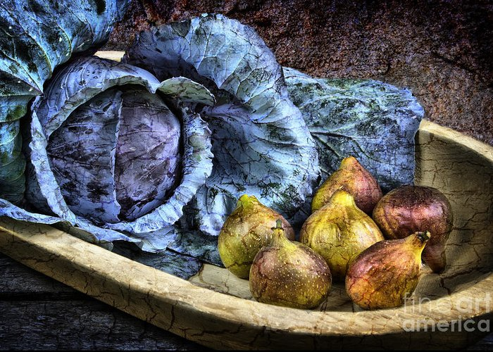 Still Life Greeting Card featuring the photograph Cabbage And Figs by Sari Sauls