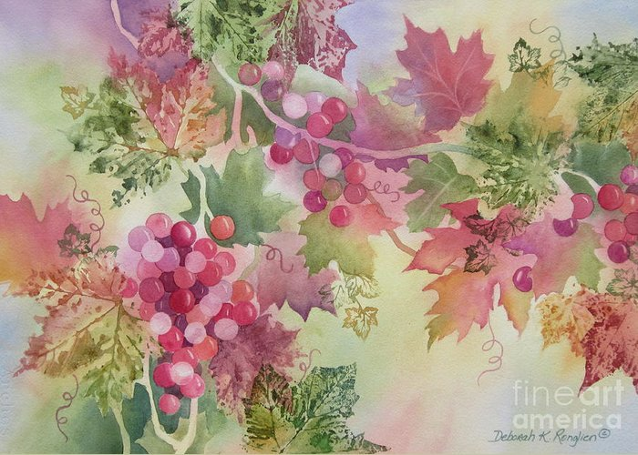Grapes Greeting Card featuring the painting Cabernet by Deborah Ronglien