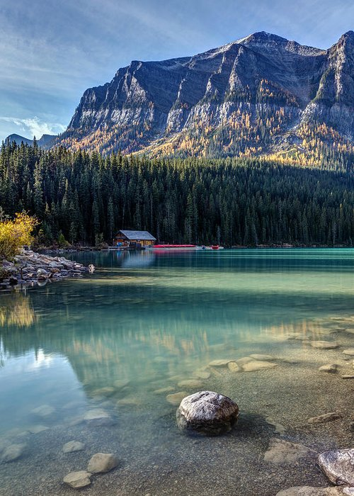 5dsr Greeting Card featuring the photograph Cabin At Lake Louise by Pierre Leclerc Photography