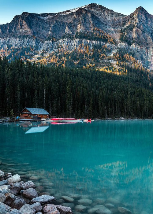 5dsr Greeting Card featuring the photograph Cabin At The Lake, by Pierre Leclerc Photography