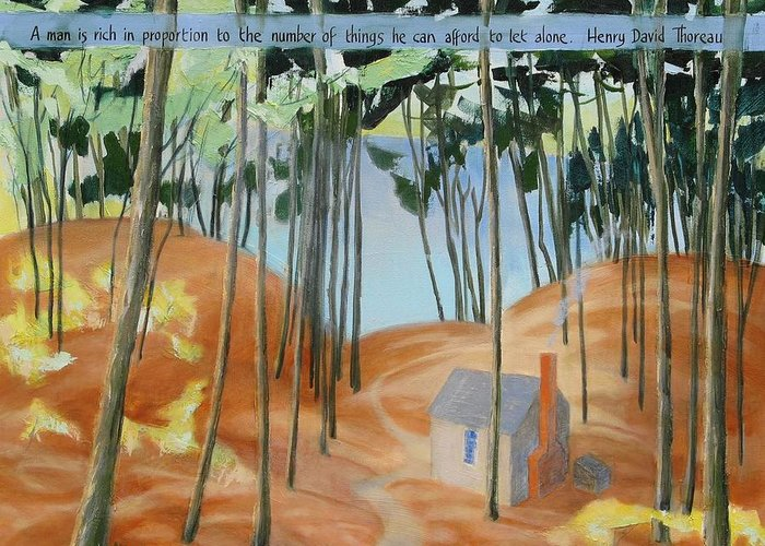 Walden Greeting Card featuring the painting Cabin At Walden Pond by Michael Cunliffe Thompson