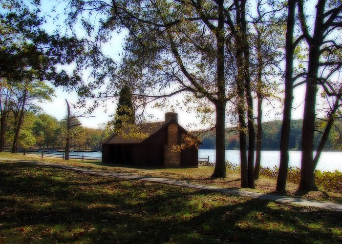 Cabin Greeting Card featuring the photograph Cabin By The Lake by Sandy Keeton