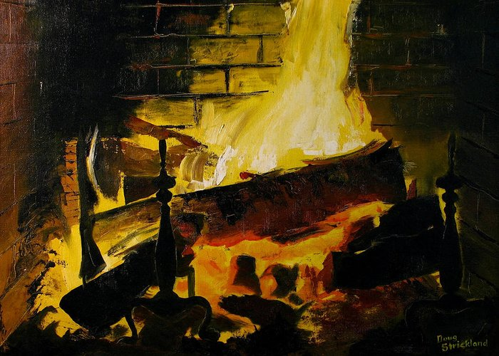 Doug Strickland Greeting Card featuring the painting Cabin Fireplace by Doug Strickland