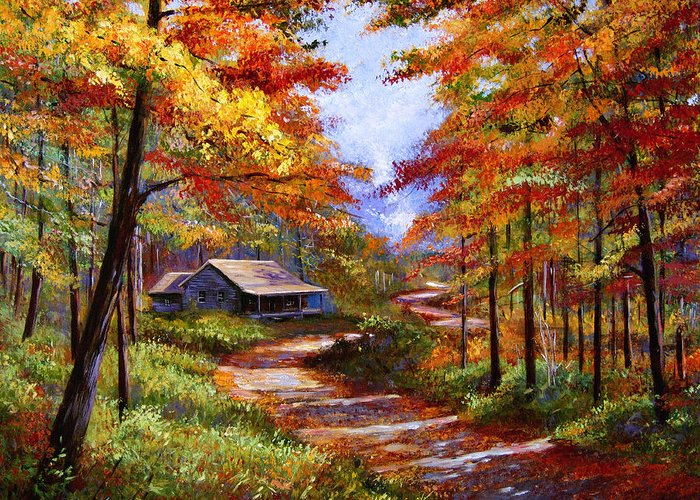 Atumn Greeting Card featuring the painting Cabin In The Woods by David Lloyd Glover