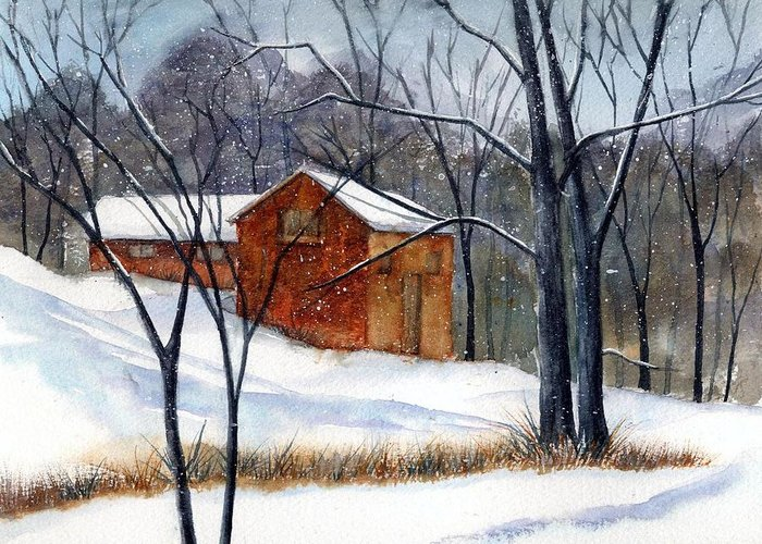 Cabin Greeting Card featuring the painting Cabin In The Woods by Debbie Lewis