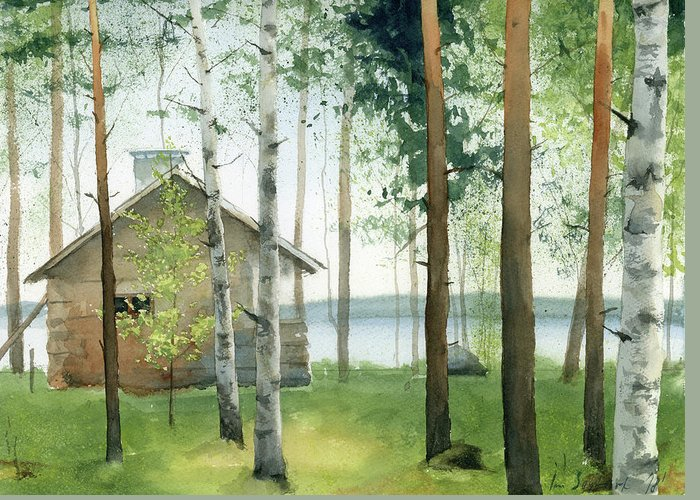 Watercolor Greeting Card featuring the painting Cabin In The Woods by Zapista Zapista