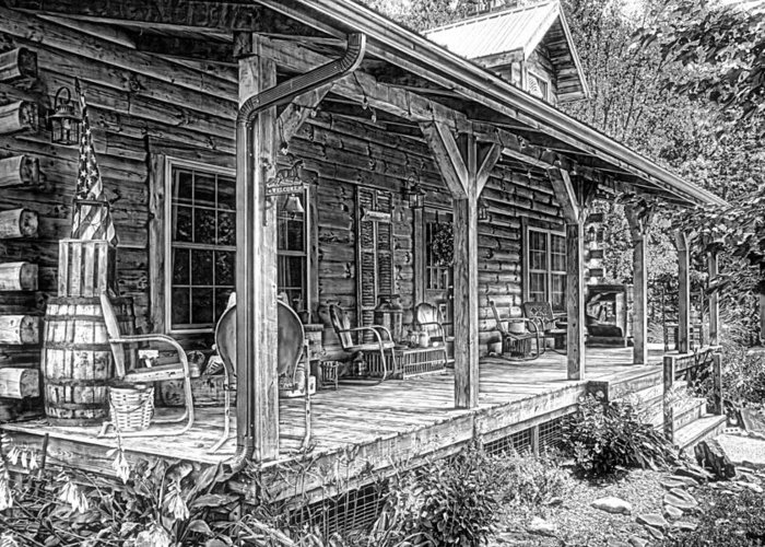 Porch Greeting Card featuring the photograph Cabin On The Hill by Tom Mc Nemar