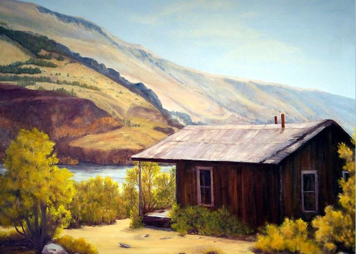Ghost Town Greeting Card featuring the painting Cabin On The Snake River Ghost Town Of Holmstead Oregon by Evelyne Boynton Grierson