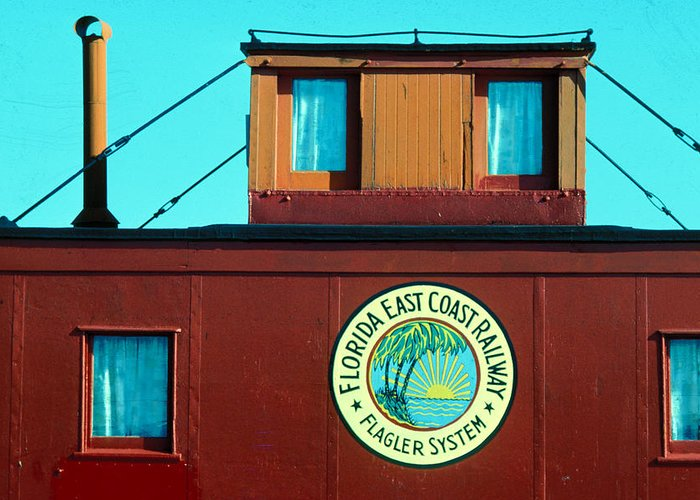 Florida Keys Train Railroad Greeting Card featuring the photograph Caboose by Carl Purcell