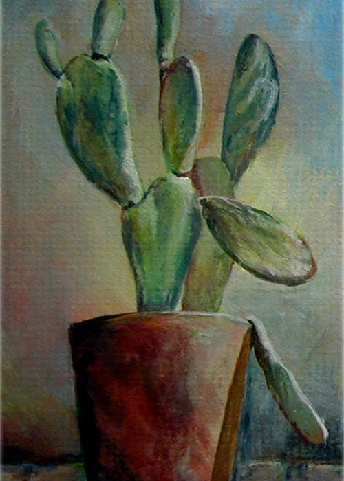 Flower Greeting Card featuring the painting Cactus 1 by Muriel Dolemieux